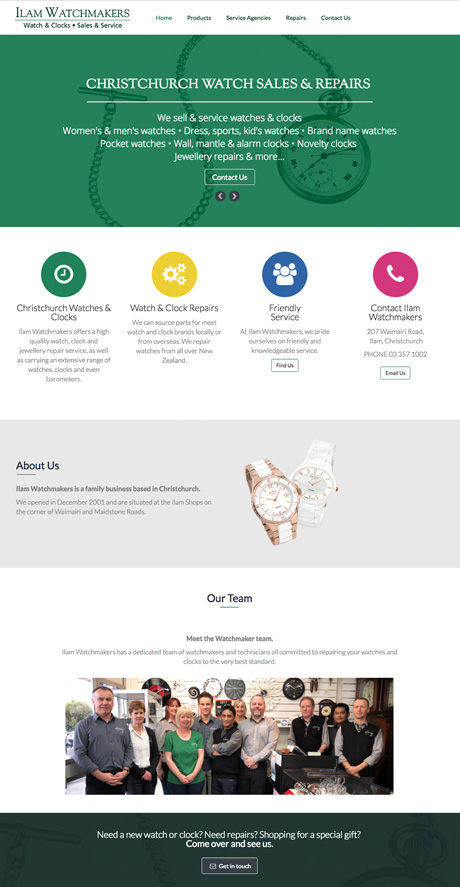 Small Business Webdesign Peregrine Web - Portfolio - Ilam Watchmakers
