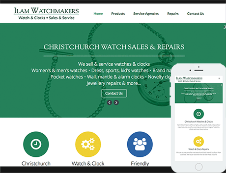 Affordable NZ Business Webdesign Peregrine Web - Recent Works - Ilam Watchmakers