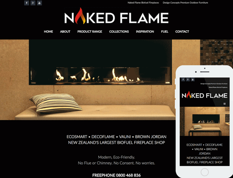Affordable NZ Webdesign Peregrine Web - Recent Works - Naked Flame