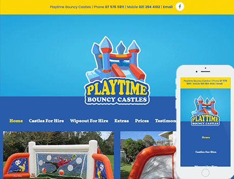 Affordable NZ Webdesign Peregrine Web - Recent Works - Playtime Bouncy Castles