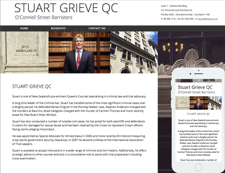 Affordable NZ Webdesign Peregrine Web - Recent Works - Stuart Grieve QC