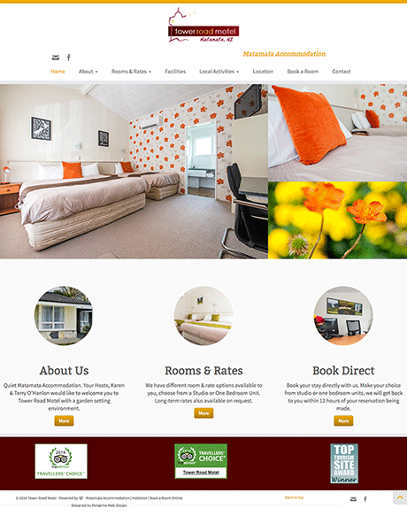Small Business Webdesign Peregrine Web - Portfolio - Tower Road Motel